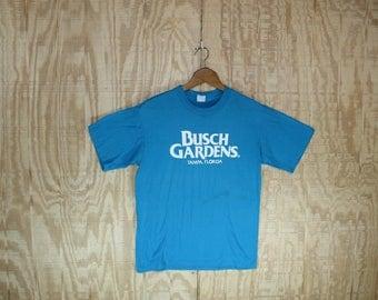Vintage 1980's BUSCH GARDENS Tampa Florida Cotton T-Shirt  T Shirt Tennessee Label S / M