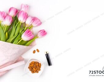 Simple Feminine Styled Stock Photography with Tulips | Flatlay Desktop Stock Image | Pink Spring Tulips | Digital Image