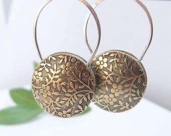 Silver Earrings Brass Earrings Tapestry Earrings Round Earrings Floral Earrings Flower Earrings Drop Earrings Gifts For Her Gift Ideas