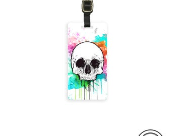 Luggage Tag Watercolor Dripping Skull Tag, Single Tag  Custom information on Back