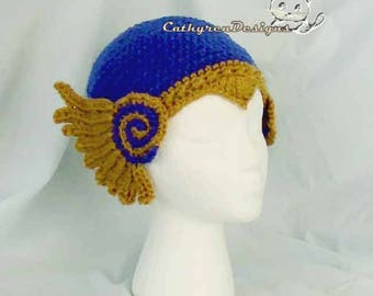 Viking Helmet Valkyrie Hat, 7 Sizes Bay-Adult, INSTANT DOWNLOAD Crochet Pattern