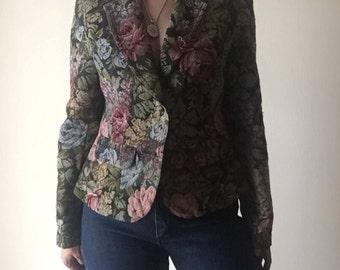 Floral Upholstery Blazer | small feminine women petite cut medium S M flower pattern print lapel collar preppy vintage jacket professional