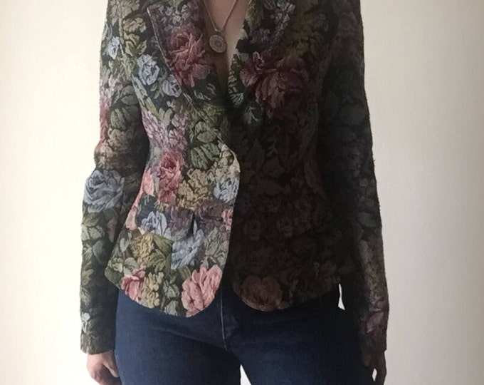 Floral Upholstery Blazer | small feminine women petite cut medium S M flower pattern print lapel collar preppy vintage jacket professional