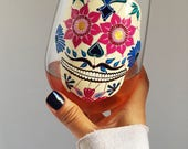 Day of the Dead Hand Painted Wine Glass