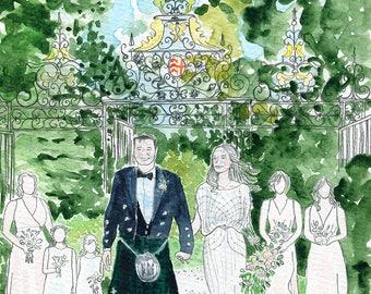 Custom wedding portrait. Couple portrait. Wedding watercolor. Custom anniversary gift. Wedding gift personalised. Wedding illustration