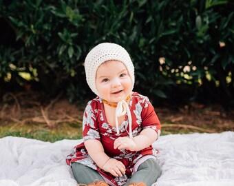 REMI Bonnet |  Crochet Bonnet, Cotton Spring Bonnet, Cream Baby Toddler Hat