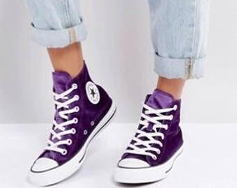 Purple Converse High Top Kicks Eggplant Wedding Plush Velvet w/ Swarovski Crystal Bling Rhinestone Jewel Chuck Taylor All Star Sneakers Shoe