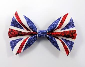 Floral UK Flag Hair Bow, Floral United Kingdom Hair Bow