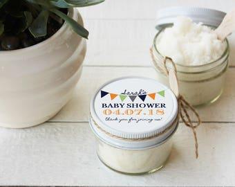 Set of 12- 4oz - Baby Shower Favor Sugar Scrubs - All-Natural, Vegan - Bunting Label-ANY COLOR // Baby Sprinkle Favors //Girl  or Boy Shower