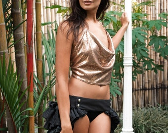 Disco Darling Sequin Cowl Neck Halter Top, Gold / Burning Man / Coachella / Splendour In The Grass