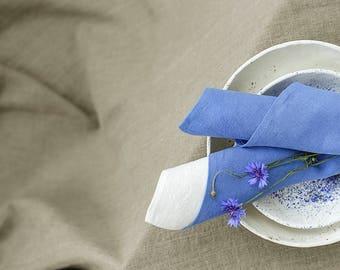 Stonewashed Large Linen Napkins / Set of 2, 4, 6, 8, 12 Washed Linen Napkins / Bespoke Handmade Lunch, Dinner Napkins in Dusk Blue