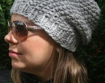 SLOUCHY BEANIE, Available in different colors, Black beanie, Knitted hat, Slouch beanie, Red hat, Grey beanie, Knitted hats women, Giftidea