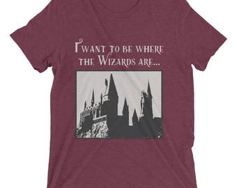 Harry Potter / Hogwarts Inspired T-Shirt – Little Mermaid Mashup – I want to be where the Wizards are – Harry Potter T-Shirt – Hogwarts