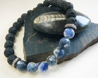 Men's Bracelet, Surfer Bracelet, Mens Beaded Bracelet, Beach Bracelet For Men, Blue Gemstone Bracelet, Surfing, Faceted Sodalite Black Lava