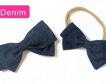 Denim Hair Bow