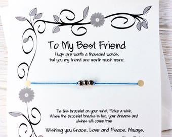 Best Friend Gift For Best Friend Bracelet Gift Best Friend Gifts For Best Friend Birthday Card Best Friends Birthday Gift Wish Bracelet More