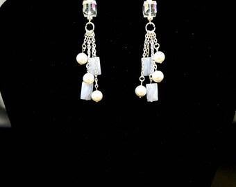 Blue Lace Agate Earrings, Long Dangle Drop Earrings, Chandelier, Shell Pearl Earrings, Crystal Earrings, Sterling Silver Earrings, Wedding