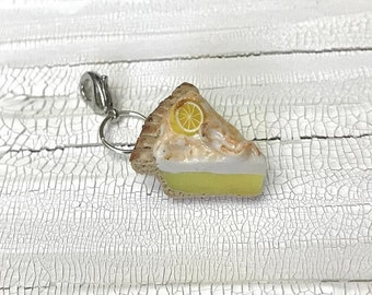 Lemon Pie Polymer Clay Charm | Knitting Accessory | Crocheting Accessory | Miniature Food | Food Jewelry | Progress Keeper | Knitting Marker