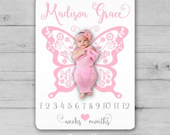 BUTTERFLY Milestone Blanket, Butterfly Baby Blanket, Butterfly Newborn Photography Backdrop, Month Growth Chart, Girl Butterfly Shower Gift