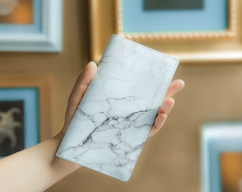 White Marble Wallet Womens Leather Wallet Leather Wallet Zipper Wallet Long Wallet Card Wallet Custom Wallet Marble Ladies Wallet YG1012