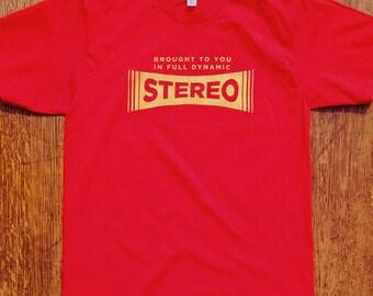 Stereo Logo Shirt, Hi-Fi Stereo Logo, Retro T-shirt, Rock Shirt, Funny, Vintage Stereo, Hipster, Music Nerd, Mens, Womens, gifts for him