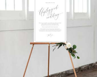 PRINT Unplugged Wedding Sign - No photos Sign