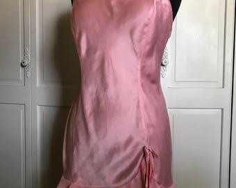 Victorias Secret Silk Night Nightgown/Pink/Ruffled Hem/Chemise/Baby Doll/Large/Deep V Back/Vintage Lingerie/1990s
