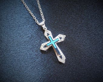 """Silver Cross Pendant - Ladies Silver Cross with 16"""" Chain"""