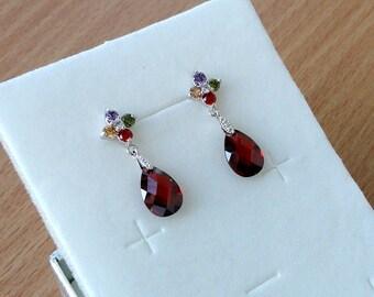 Wine Red earrings Ruby red Drop earrings Wine red Crystal earrings Ruby earrings Gift for women Dangling earrings Rhinestone earrings Jm1