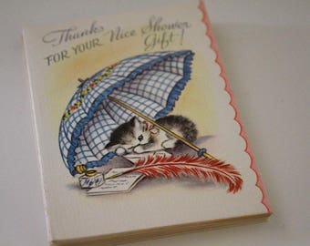 Set of 10 Adorable Vintage 1950 Kitten Shower Gift Thank You Notes | Baby or Wedding
