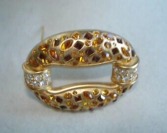 Swarovski Topaz, Amber Gold Rhinestone Brooch