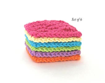 Face Scrubbies, Facial Scrubbie pads, Cotton Face Cleaning Pads, Set of 6 Bright Colors