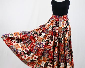 1990s Southwestern Print Full Three Tiered Cotton Skirt by Desert West