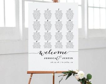 Wedding Seating Chart, Wedding Seating Chart Template, Wedding Seating Chart Poster, Seating Plan, 18x24 Printable Seating Chart