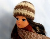 Sindy Hat Brown and Cream Striped Alpaca Wool Beanie Style