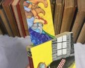 OZ bookmark faerie tale feet yellow brick road technicolor story art rainbow bookmark bookish tin man cowardly lion toto too rainbow