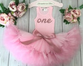 Pink Birthday Outfit Girl | Rose Gold 1st Birthday Tutu Dress | Dusty Rose 1st Birthday Outfit
