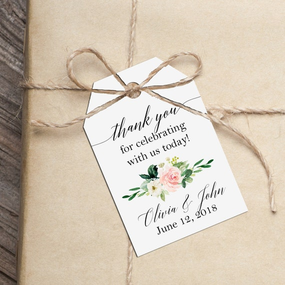 personalized thank you tag wedding thank you tags printable or