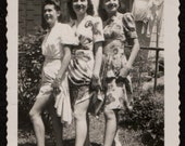 Vintage Photo Three Lovely Ladies Lifting Their Skirts Showing Legs 1940's, Original Found Photo, Vernacular Photography