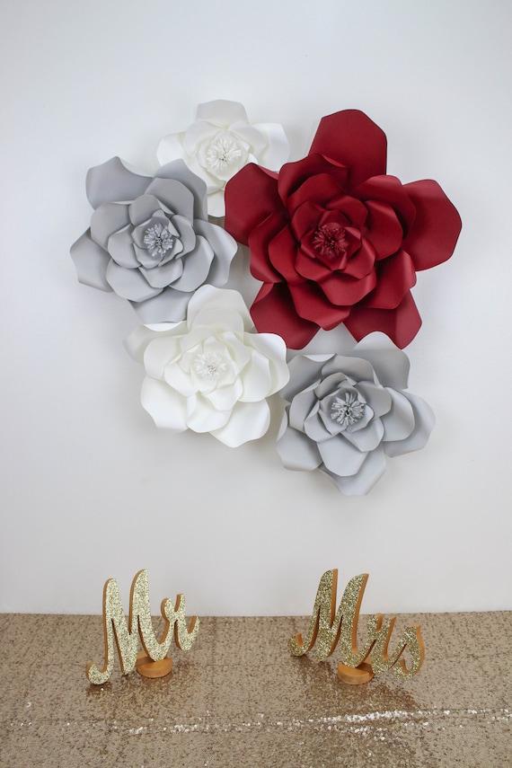 Burgundy gray white flower set of 4 paper flower wall paper il570xn mightylinksfo