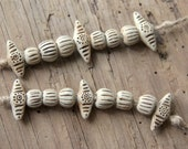 A strand of 9 stoneware beads, NATURAL, RUSTIC and EARTHY ceramic handmade jewelry component