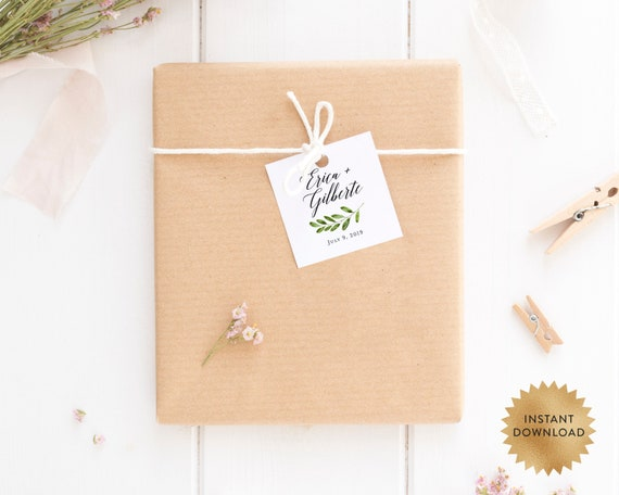 greenery tags instant download wedding tags template tags for