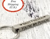 Four Sided Engraved Stainless Steel Keychain Bar, customized, laser engraved, personalized