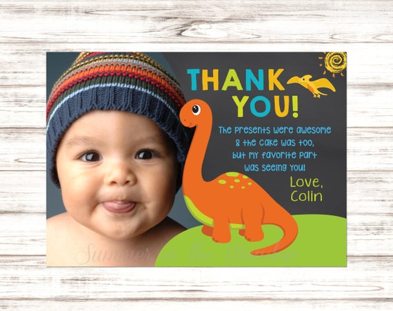 Dinosaur Thank You Card With Photo Birthday Thank You Card Thank