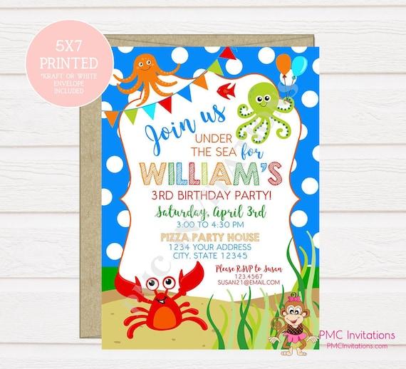 custom printed under the sea birthday invitations ocean invitation