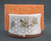 Handmade Ceramic Honey Comb and Bee Sponge Holder