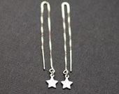 Tiny Silver Star Threader Earrings, Silver Threaders