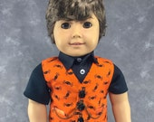 """Spider Vest for 18"""" Boy Dolls.  Orange and Black Halloween 3 button waistcoat w/ 2 real pockets. Made to fit American Girl Boy dolls."""