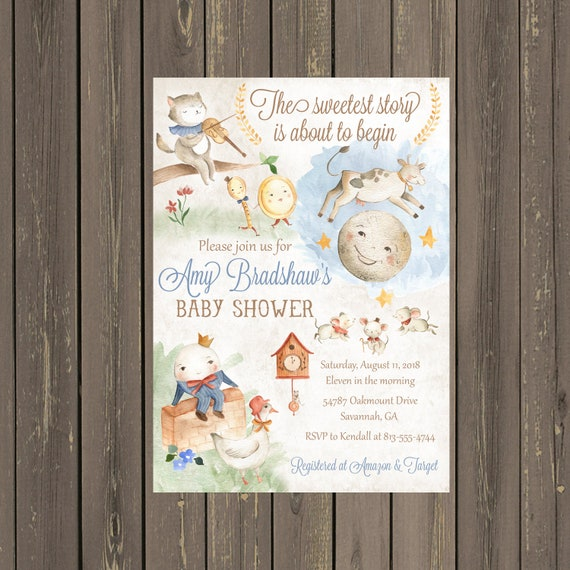 Nursery rhyme baby shower invitation storybook baby shower il570xn filmwisefo