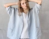 Washed oversized short linen kimono/cardigan/jacket